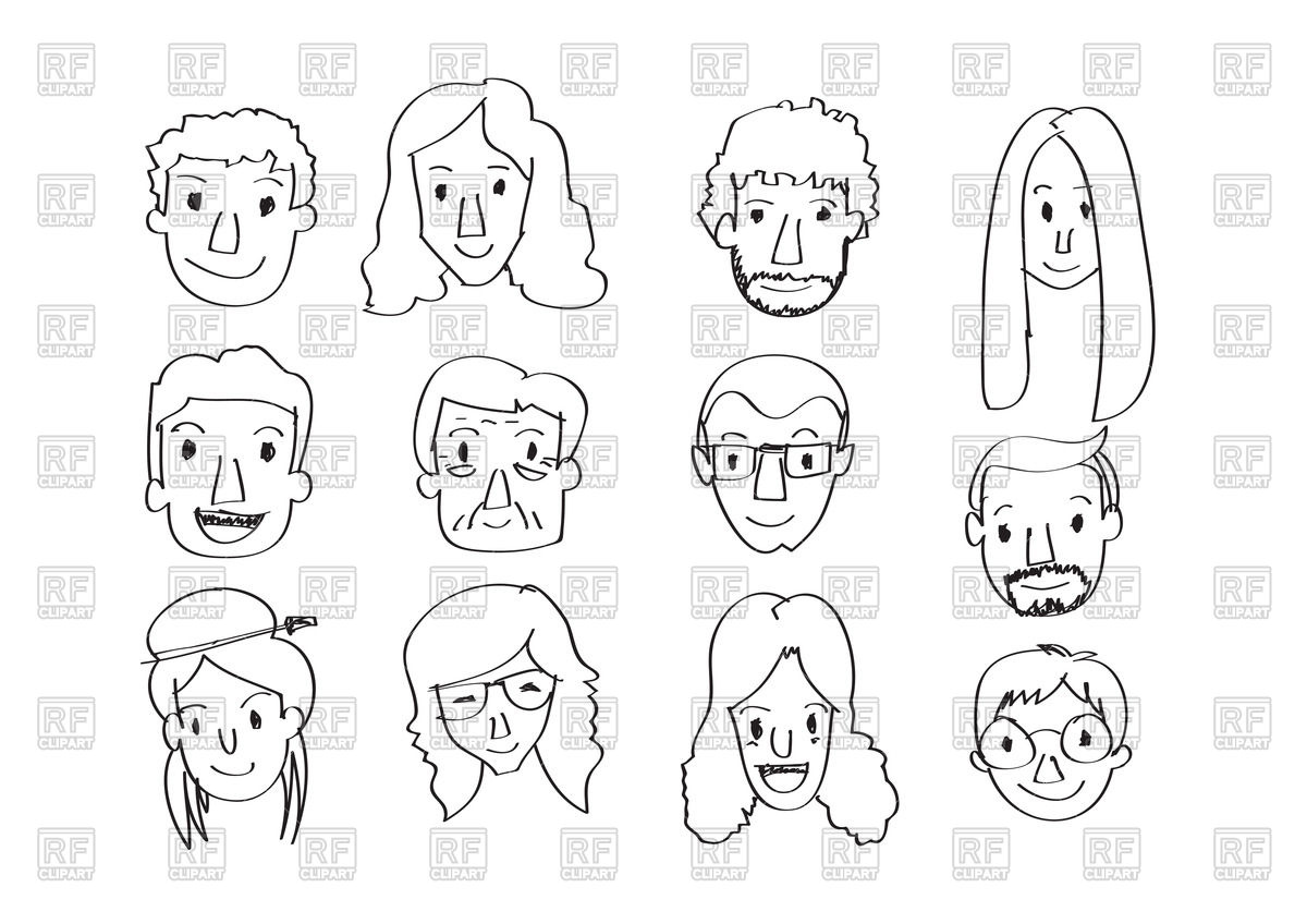 1200x848 Set Of Various Cartoon Faces In Hand Drawn Style Royalty Free