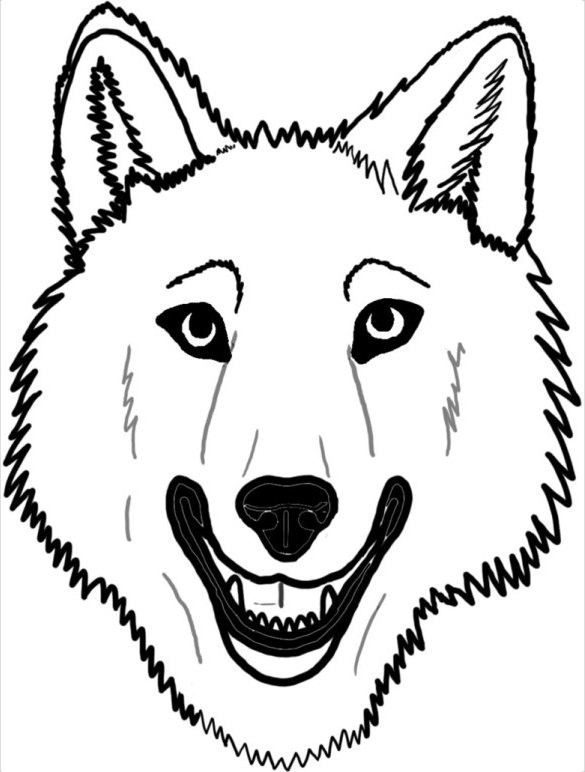585x772 Wolf Drawing Free Printable Pdf, Jpeg Format Download