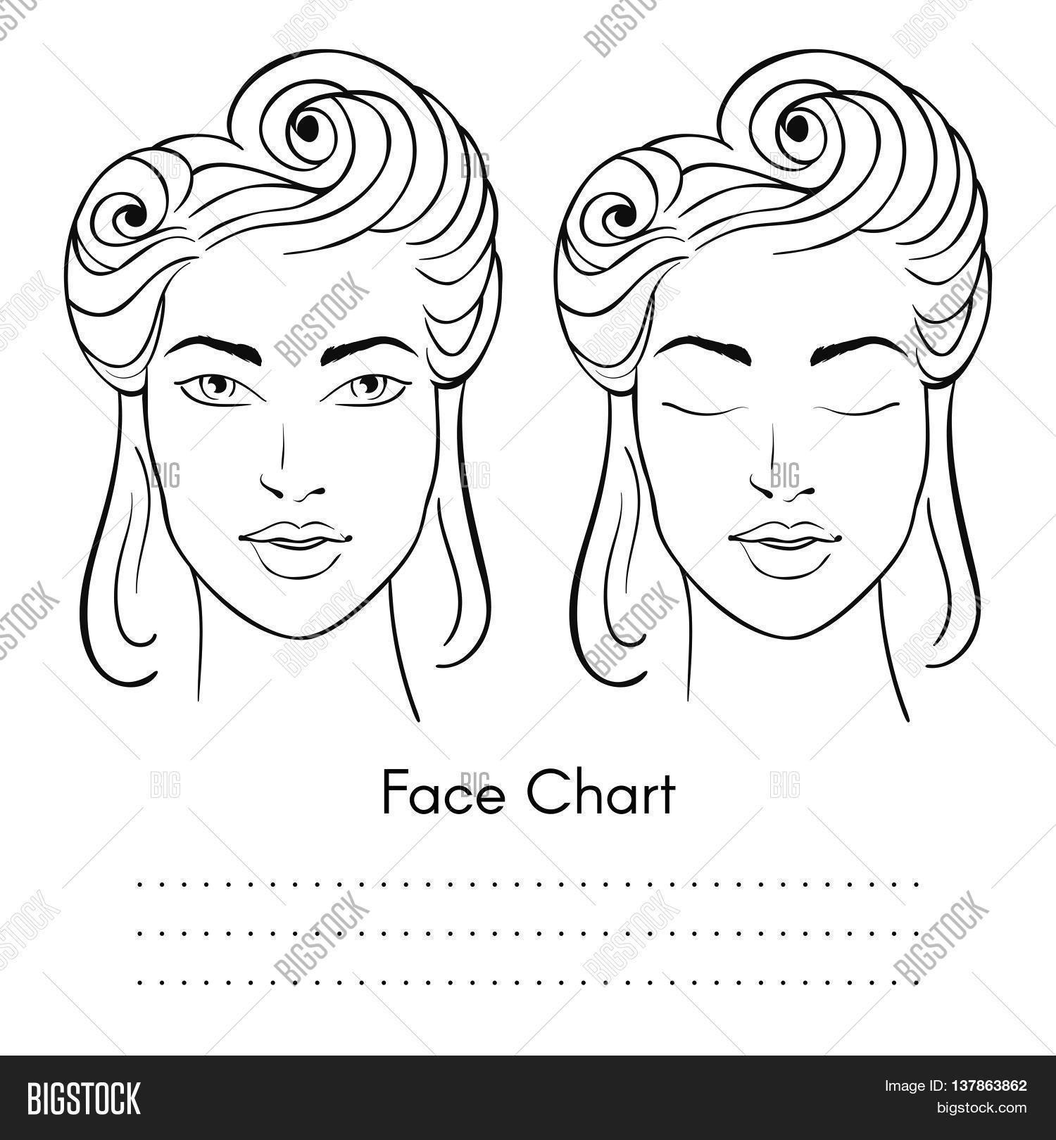 1500x1620 Vector Beautiful Woman Face Chart Vector Amp Photo Bigstock