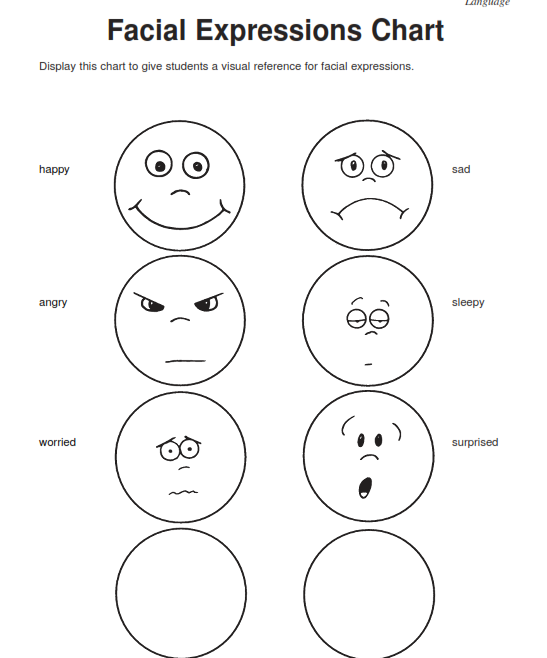 facial expressions worksheet for elementary students