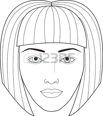 400x450 Beautiful Woman Portrait. Face Chart Makeup Artist Blank Template