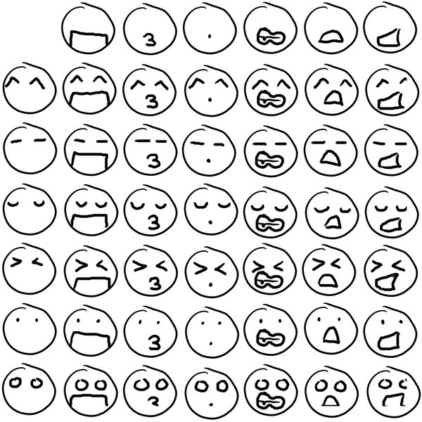 600x600 Chibi Facial Expressions Grid By Craxy Nights