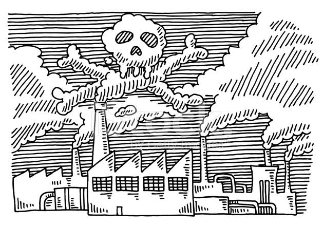 629x440 Factory Pollution Problem Skull Drawing Stock Vector