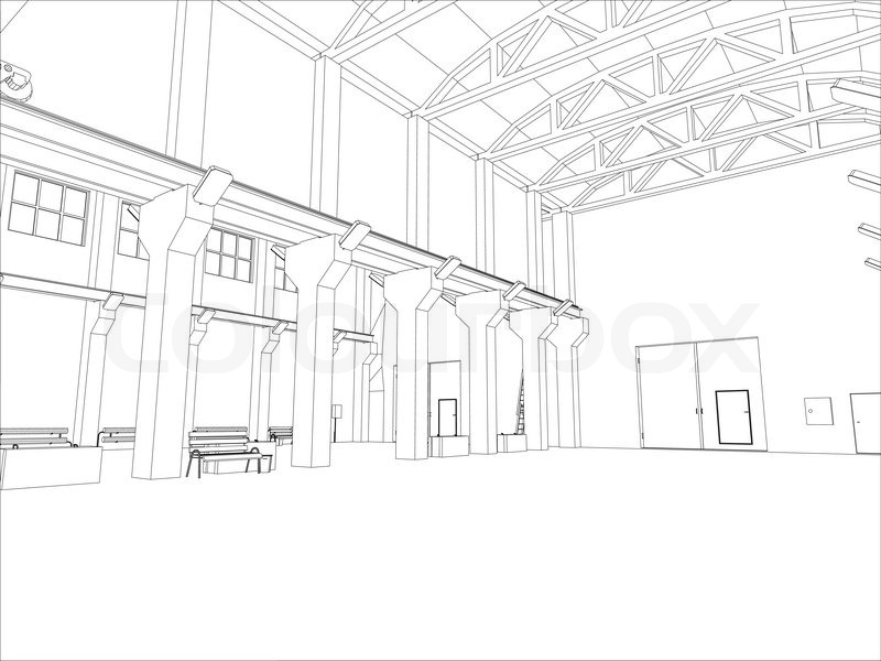 800x600 Factory Environment. Wire Frame. Vector Eps10 Format. Vector