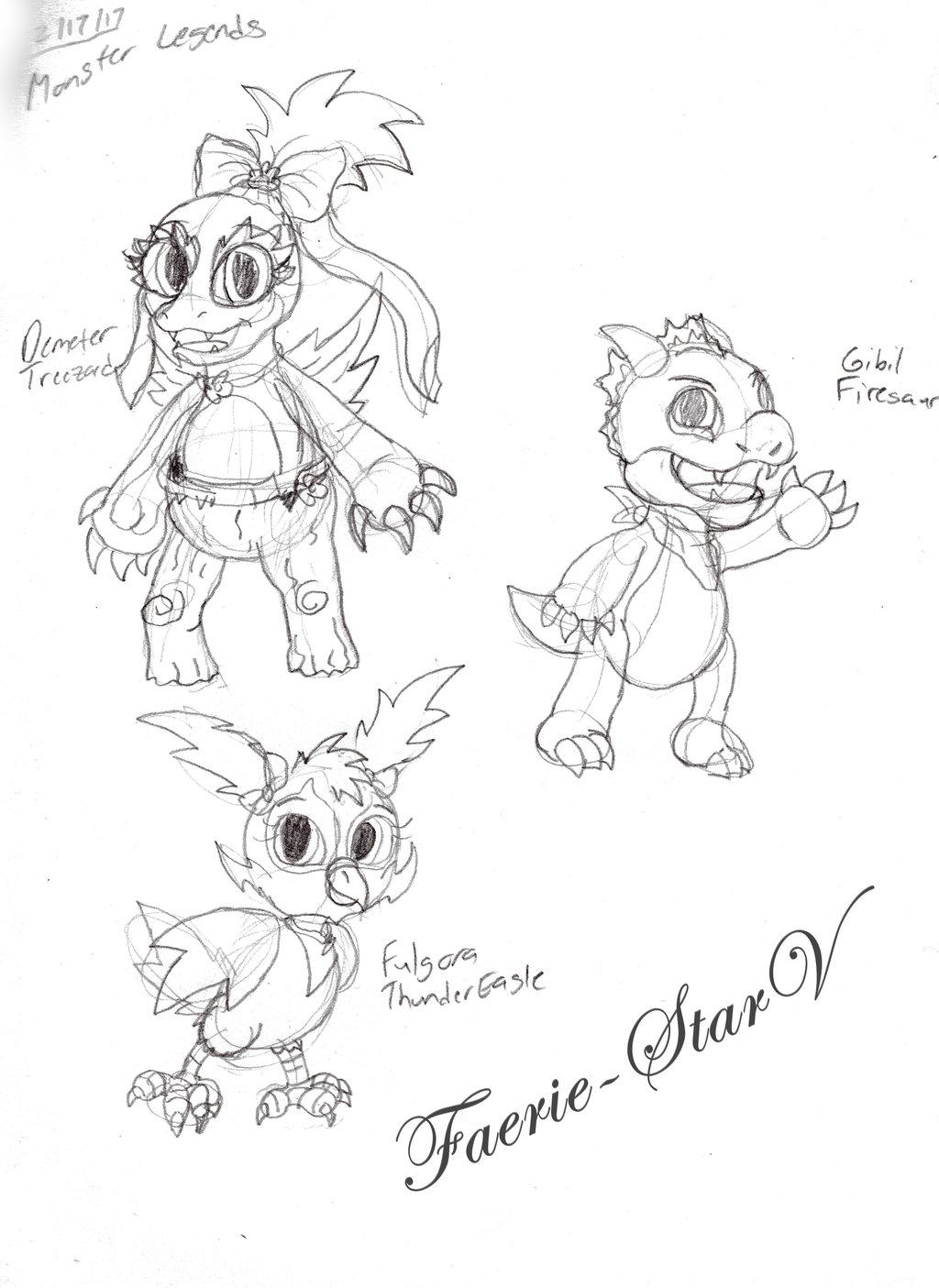 1024x1405 Monster Legends Trio Gang Part 1 Doodles By Faerie Starv