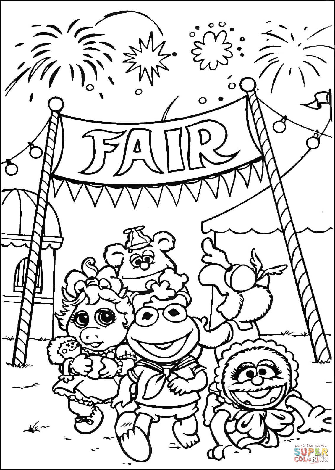 1133x1588 Muppet Babies Goes To Fair Market Coloring Page Free Printable