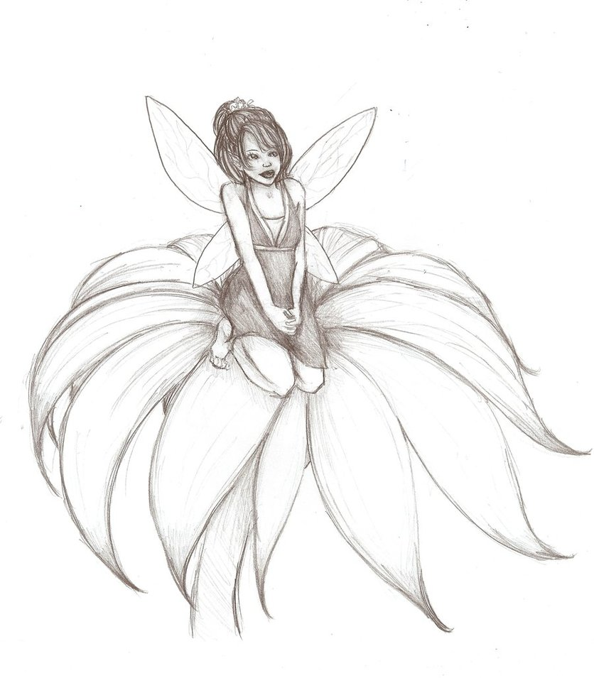 Fairies Black And White Drawing at GetDrawings.com | Free ...
