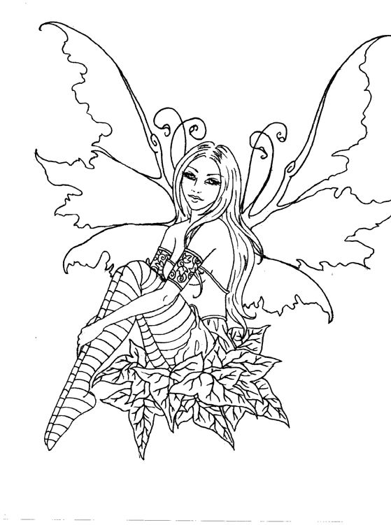 Fairies black and white drawing at free for Christmas fairy coloring pages