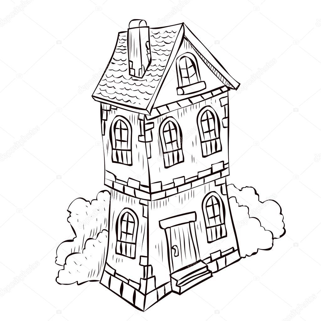 1024x1024 Fantasy Cartoon Fairy Tale House Stock Vector Dergriza