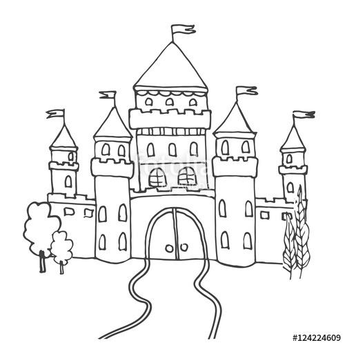 500x500 Hand Drawn Cartoon Fairy Tale Castle Icon. Vector Illustration