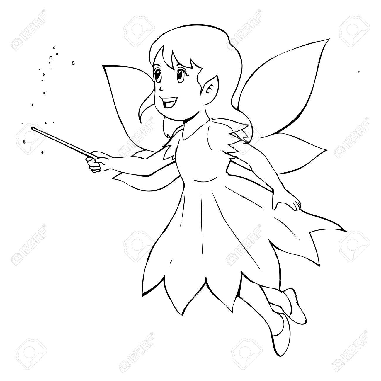 1300x1300 Outline Illustration Of A Little Fairy Royalty Free Cliparts