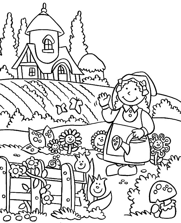 Fairy garden drawing at free for for Garden coloring page