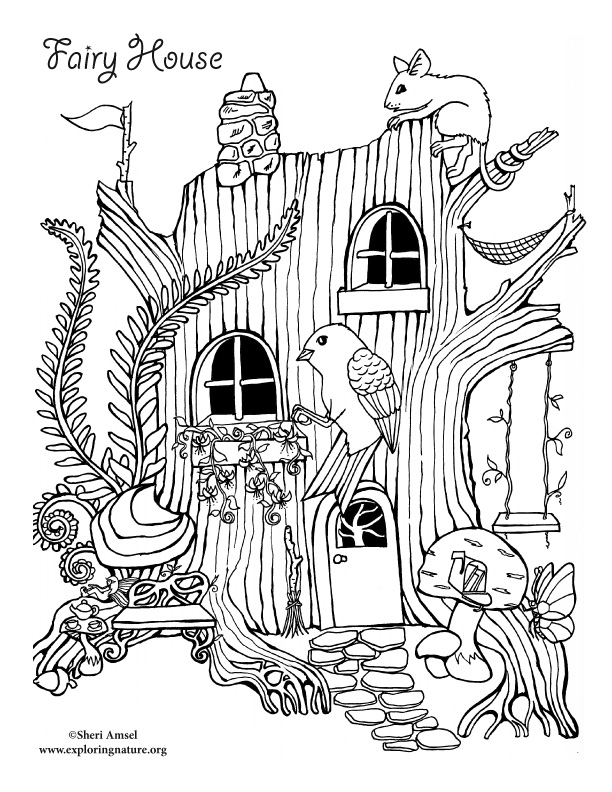 612x792 Fairy House Coloring Page