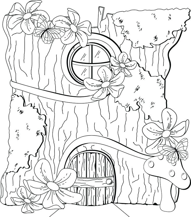 736x836 Fairy House Coloring Pages Color By Numbers Town Fairy Mushroom