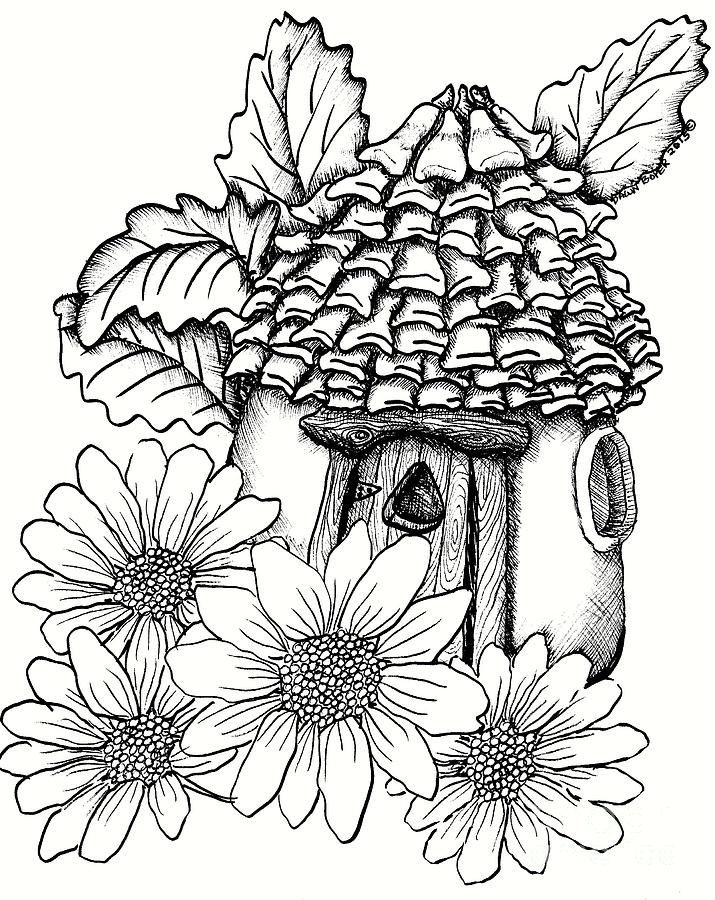 715x900 Fairy House With Pine Cone Roof And Daisies Drawing By Dawn Boyer