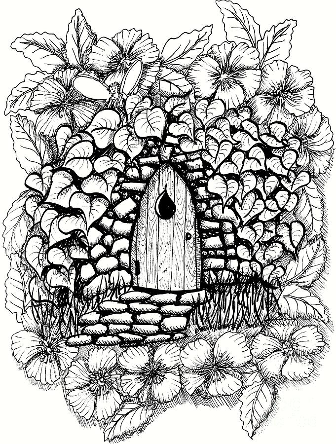 681x900 Fairy Stone House With Flowers Drawing By Dawn Boyer