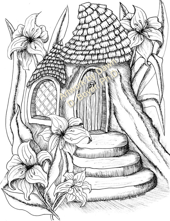 570x738 Big Kids Coloring Book Fairy Houses And Fairy Doors Vol 3 Amp 4