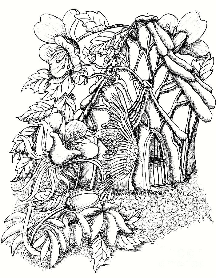 702x900 Hummingbird Guardian With Fairy House Drawing By Dawn Boyer