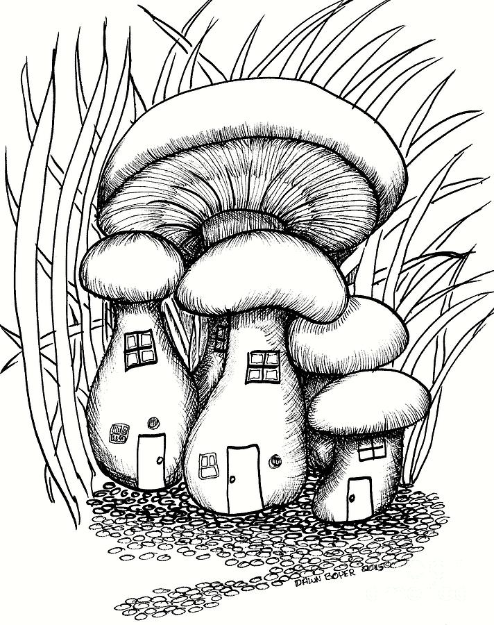 712x900 Mushroom Fairy Houses And Grass Drawing By Dawn Boyer Coloring
