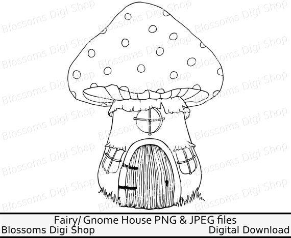 570x468 Mushroom House Digi, Fairy House Clipart, Fairy House Digital