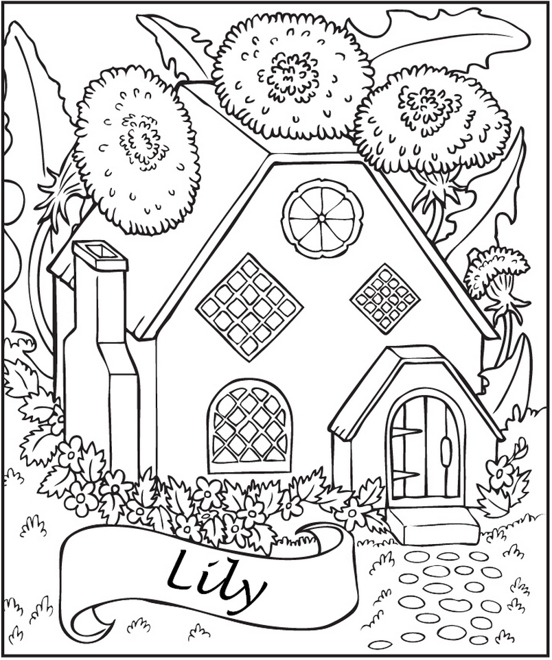 804x962 Personalized Fairy House Coloring Page Frecklebox