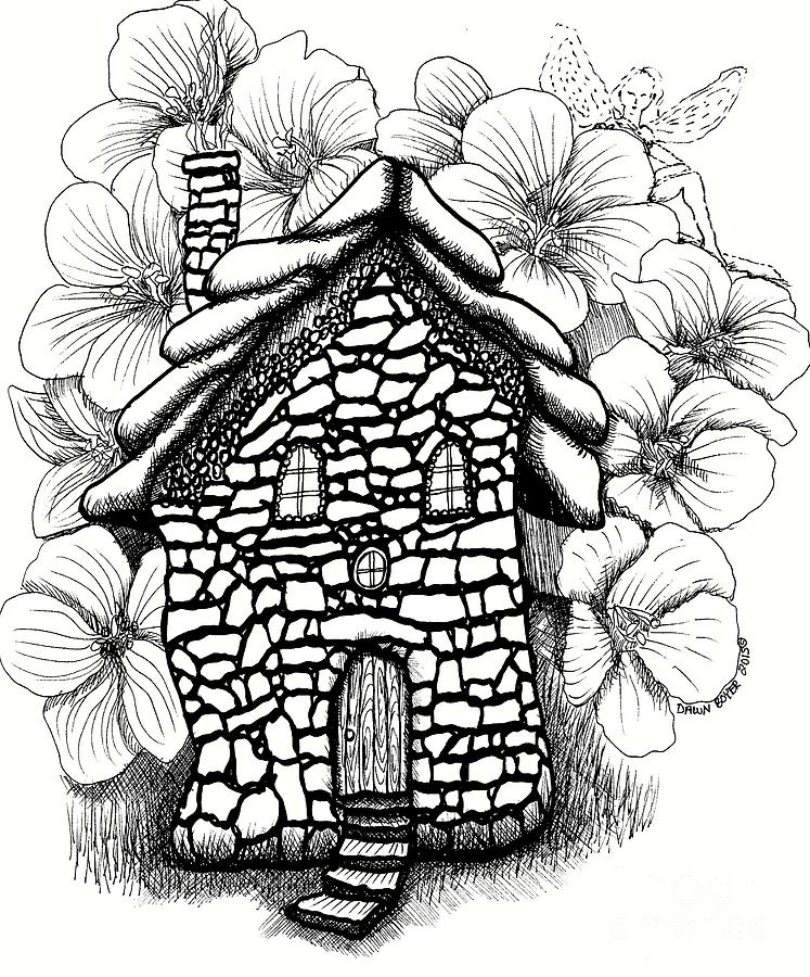 747x900 Stone Fairy House And Hibiscus Drawing By Dawn Boyer