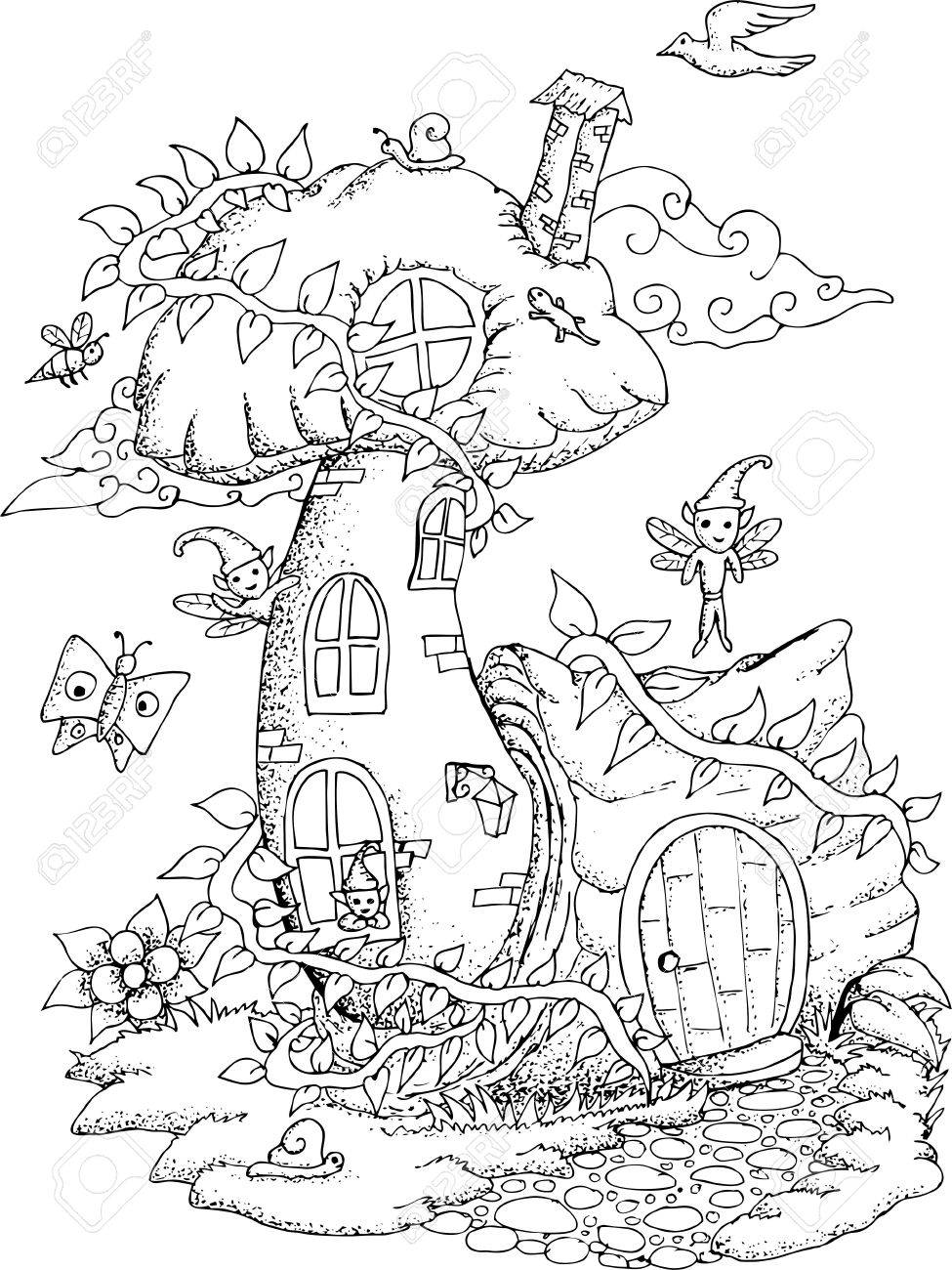 975x1300 Black And White Illustration Of A Fairy House With Details