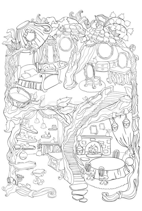 538x800 Vector Colouring Illustration Of Fairy House With A Bedroom