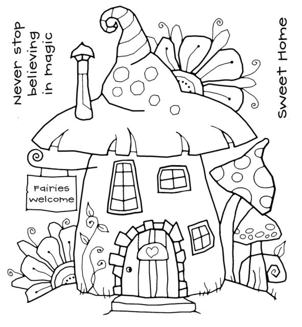 591x640 Woodware Fairy House Clear Magic Singles Stamp FRS350 EBay