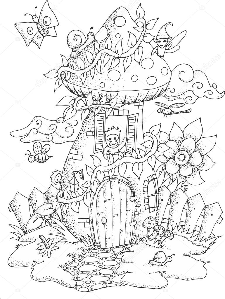 770x1023 Black And White Illustration Of A Fairy House For Adult Coloring