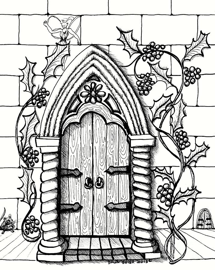 716x900 Double Fairy Doors With Mouse Drawing By Dawn Boyer