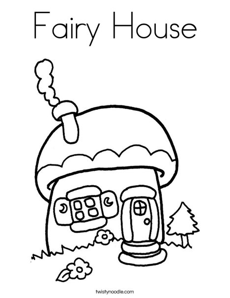 468x605 Fairy House Coloring Page