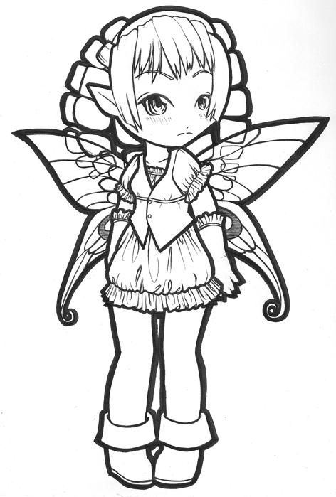 472x699 Fairy Line Art By Kasaiinuyoukai