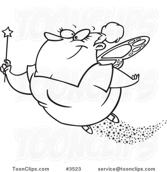 581x600 Cartoon Black And White Line Drawing Of A Fairy Godmother Flying