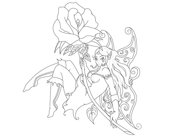 600x464 Fairy Drawings Tattoo Designs Fairy Tattoo Outline By Wolf100185