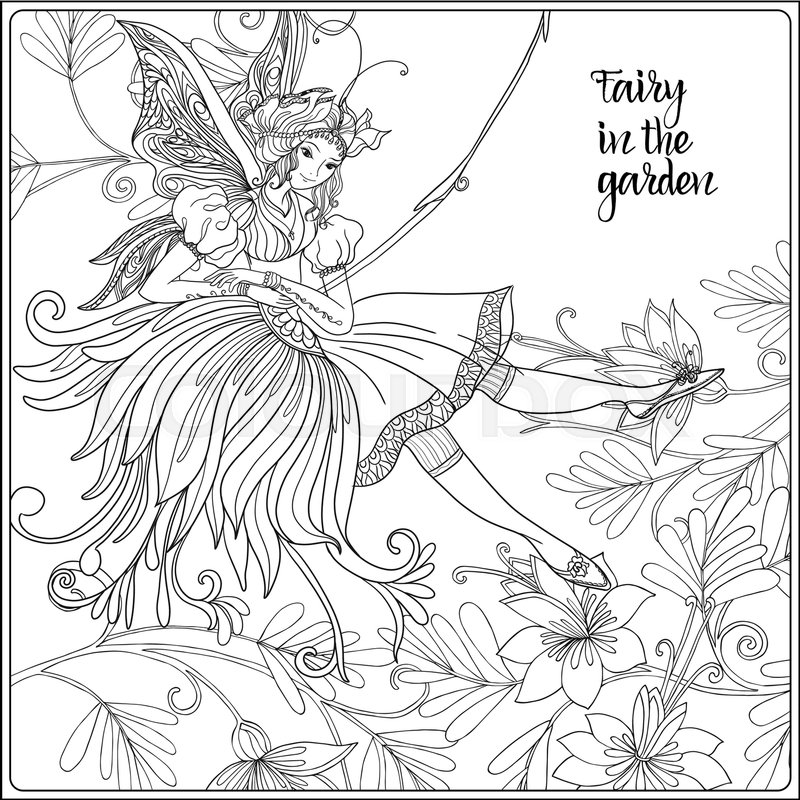 800x800 Fairy With Butterfly Wings On Swing On Medieval Floral Pattern