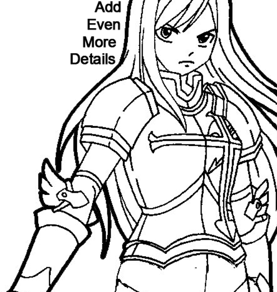 550x580 How To Draw Erza Scarlet From Fairy Tail With Easy Step By Step