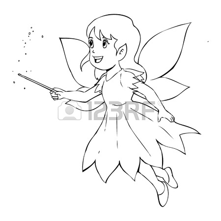 450x450 Outline Illustration Of A Little Fairy Royalty Free Cliparts
