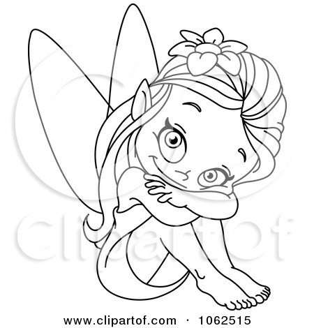 450x470 Clipart Sitting Fairy Outline