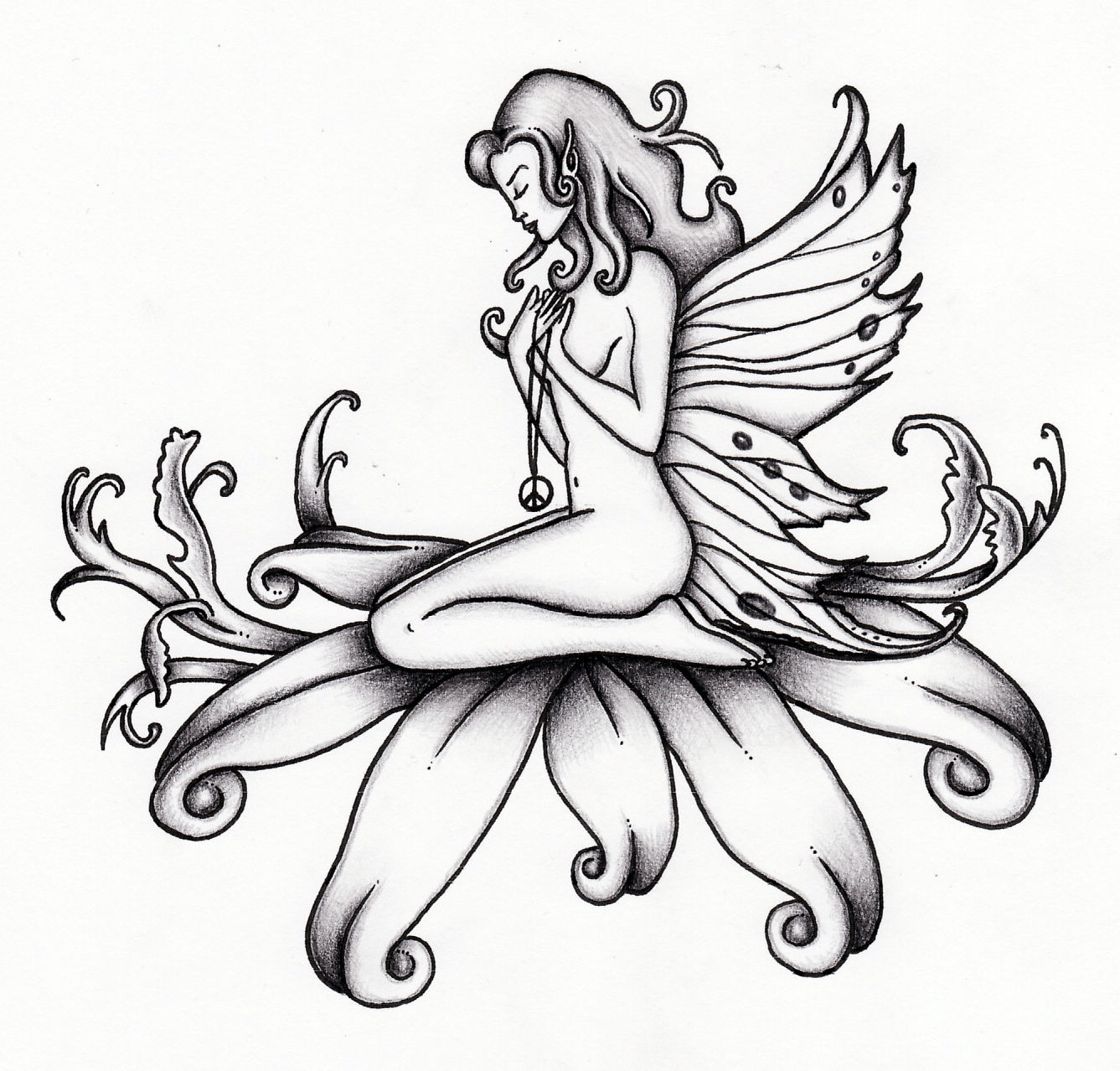 1337x1278 Collection Of Fairy Tattoo Drawing