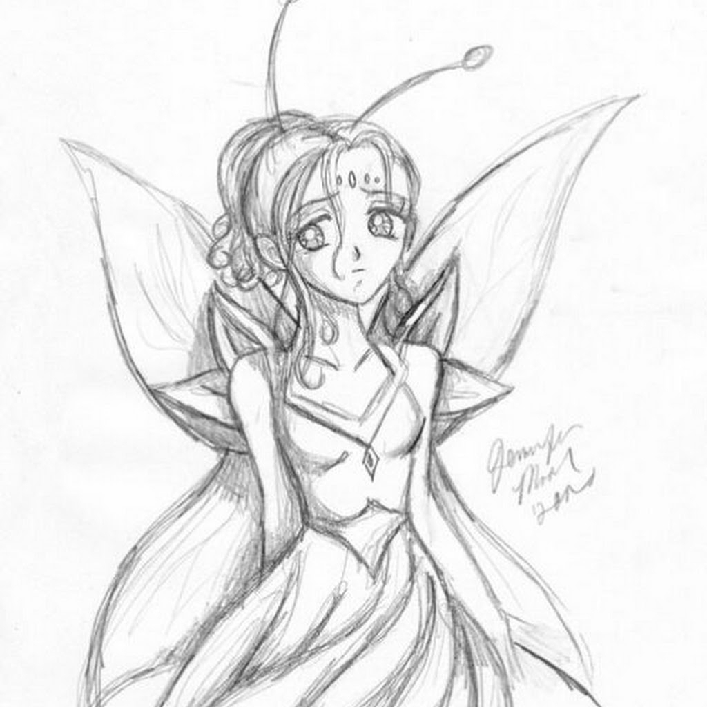 1024x1024 Fairy Anime Drawings In Pencil Pencil Drawing Of Fairies Fairy