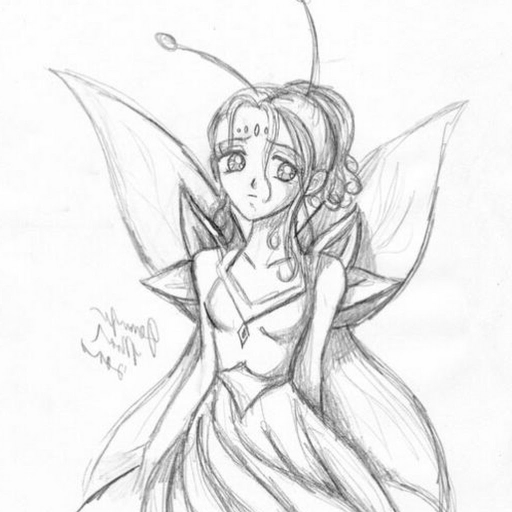 1024x1024 Fairy Pencil Drawing Fairy Anime Drawing In Pencil Fairy Pencil