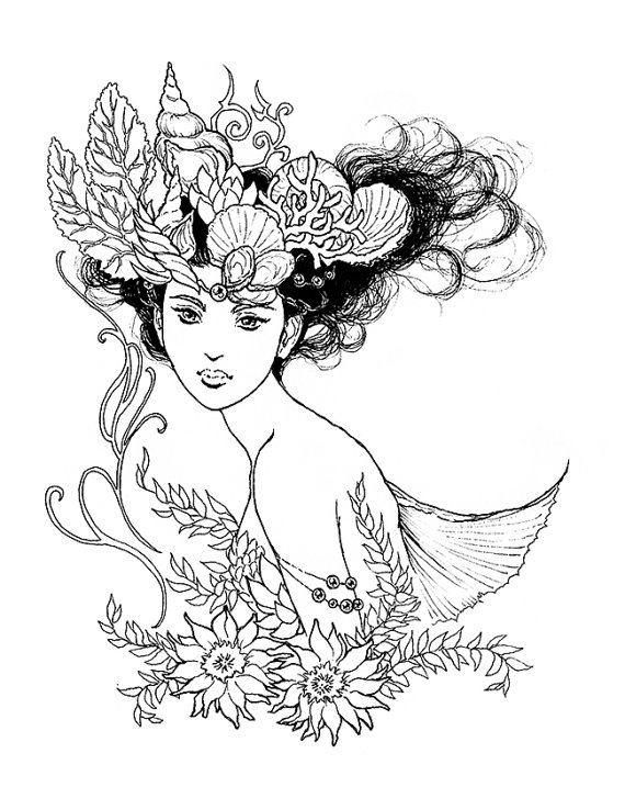 570x717 Nereid Mermaid Queen Portrait Ink Drawing Coloring Page