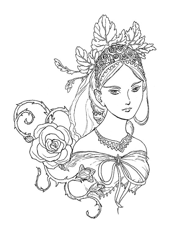 570x770 Tatiana Fairy Queen Portrait Ink Drawing Coloring Page