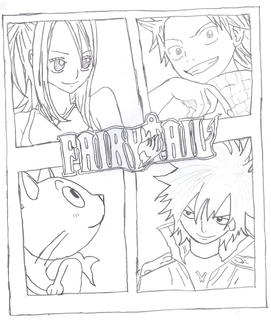 900x1064 Fairy Tail Group Sketch By Nekokirara0915