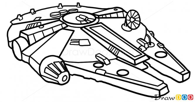 665x349 Millennium Falcon Drawing