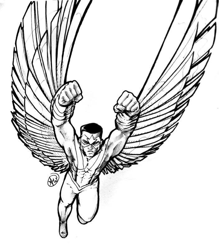 704x800 Marvel Falcon Coloring Pages Lineart