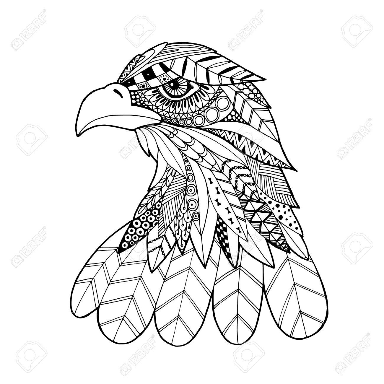 1300x1300 Ornamental Head Of Eagle Bird, Trendy Ethnic Zentangle Style