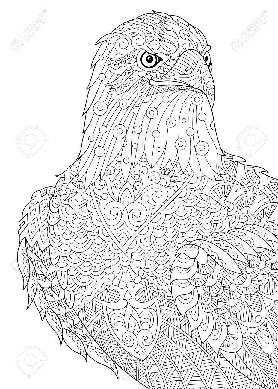 928x1300 Stylized Cartoon Eagle Of Prairie (Hawk, Falcon, Osprey). Sketch