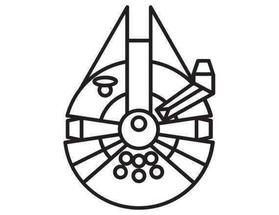 570x440 Millennium Falcon Decal Star Wars Themed Decal. Han Solo.